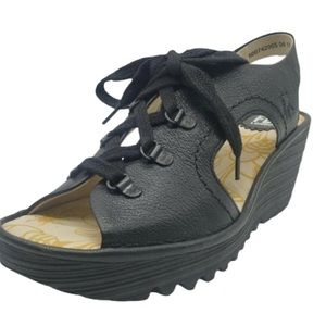 Fly London YLFA Black Leather Wedge Sandals 6